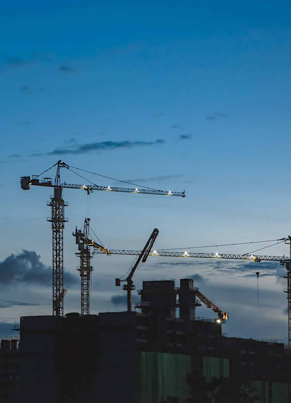 Cranes Working On Property Development